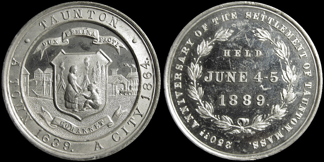 Anniversary of the Settlement of Taunton, Mass. June 1889 Medal