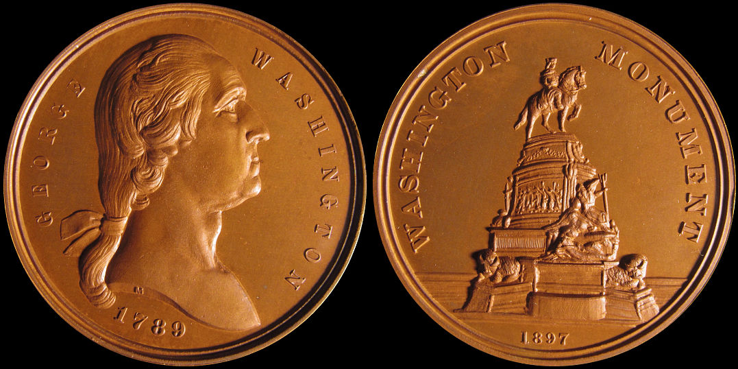 George Washington Monument Eakins Oval Philadelphia 1897 Medal
