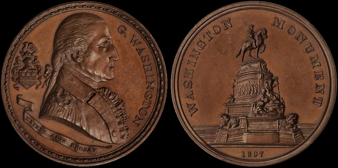 G. Washington Monument Eakins Oval Philadelphia 1897 Medal