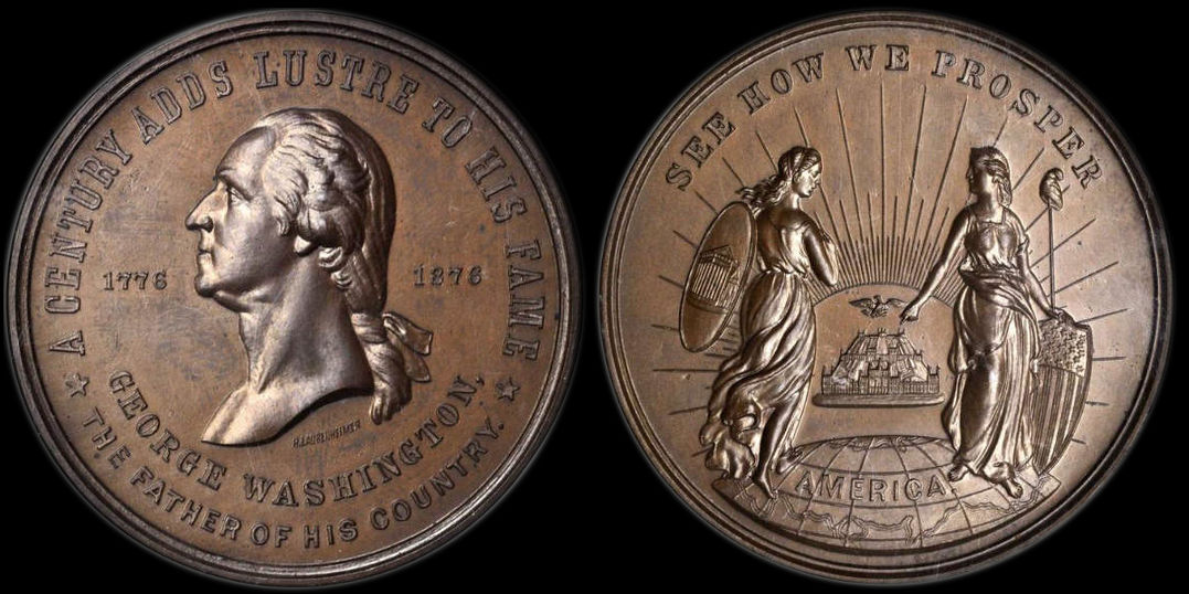 George Washington See How We Prosper 1876 Philadelphia Exposition medal