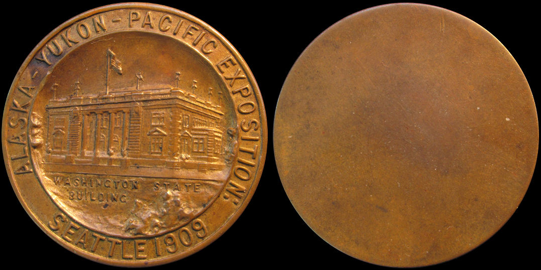 1909 Alaska Yukon Pacific Exposition Washington State Building Medal