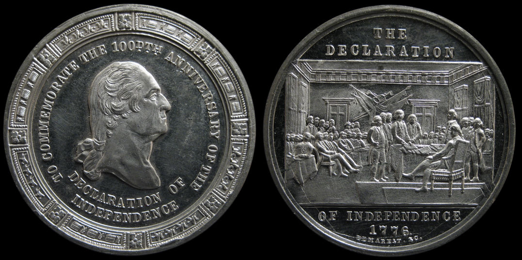100th Anniversary Declaration of Independence Trumbull painting medal