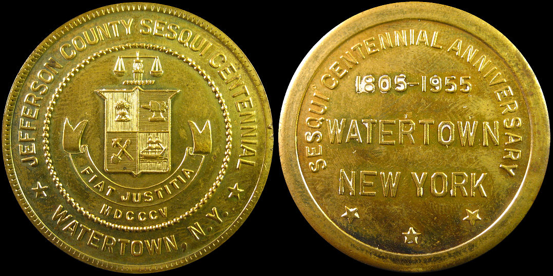 Watertown New York Sesquicentennial 1955 Jefferson County Medal